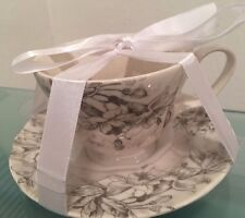 222 Fifth LOVE POEM Gray Ivory Floral Butterfly Coffee Tea Cup & Saucer NEW