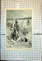 Antique Old Print Thirst In Bush Men Whips Find Man Collapsed I Taylor 1895