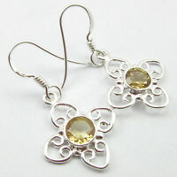 Natural CITRINE Gemstone Jewelry, 925 Sterling Silver STYLISH Earrings 1.3 Inch