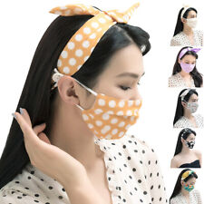 Women's Headband+Face Mask Outdoor Hairband Face Mask With Button Turban Bandana
