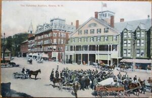 Keene, NH 1909 Postcard: The Saturday Auction / Downtown - New Hampshire