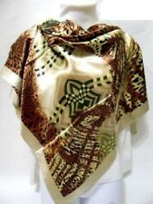 Beige Brown Green Leopard Cheetah Animal Print Square Triangle Silky Scarf