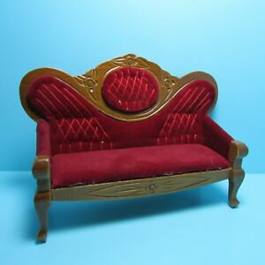 Dollhouse Miniature Wood Victorian Couch Red Velour Fabric and Walnut  D5412