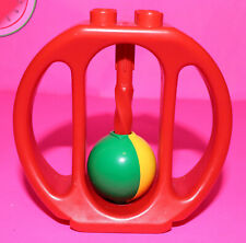 Vintage 1983 LEGO Duplo Baby Toddler BALL RATTLE Teether Oval Red Yellow Green