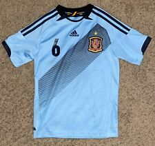 SPAIN EURO BLUE AWAY SHIRT SOCCER JERSEY #6 INIESTA ADIDAS YOUTH LARGE