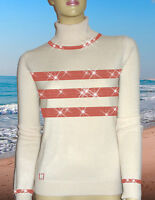 LUXE OH `DOR 100% Cashmere Pullover Hamptons Lifestyle perlweiß rot 34/36 XS/S