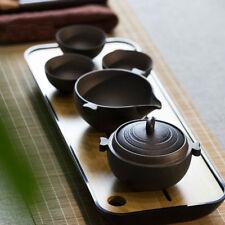 Black Ceramic Happiness Portable Gongfu Tea Set Teapot Pitcher & 3 Teacups 5 Pcs