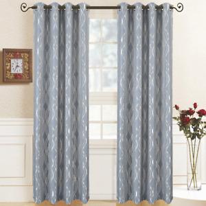 Regalia Abstract Jacquard Textured Grommet Top Curtain Panels (Set of 2)