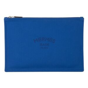 Hermes Bain Flat Yachting Pouch Case Electric Blue Cotton Large New