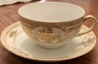 Vintage Noritake Morimura Yellow Banded Gold Beaded Moriage Cup and Saucer Set