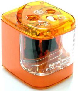 Jakar Orange Double Hole Pencil Sharpener Desktop Electric Battery Main Operated