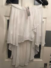 lipsy London, skirt uk 12 white dip drop back hem brand new