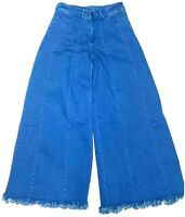 Rich Fashion Womens Wide Leg Straight Jeans Blue Medium Wash Frayed Size 8