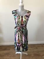 Basler Cotton Multicoloured Watercolour Effect Shift Dress - UK Size 10