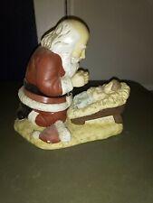 Vintage Ceramic 1992 R.P Gauer Kneeling Praying Santa Over Baby Jesus Christmas