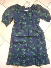 (h776) Juicy Couture Girls vestido de verano 100% seda con mariposas gr.128