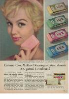 PUBLICITÉ DE PRESSE 1959 COMME VOUS MYLÈNE DEMONGEOT AIME CHOISIR LUX 4 COULEURS