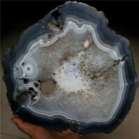 LARGE! Natural Banded Agate with Quartz Crystal Polished Geode Slice 2242G