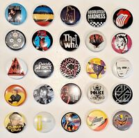 CHOOSE: Vintage Rock & New Wave 1 Inch Pinback Pin Button * Combine Shipping!