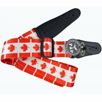 Canadian Flag Maple Leaf Acoustic Electric Guitar Strap With Faux Leather Canada