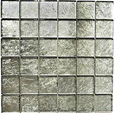 Glasmosaik uni silber Struktur Fliesenspiegel Küche Art: 123-8SB26 | 10 Matten