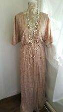 Vtg 1920,s style Gatsby nude pink sequin beaded wedding flapper dress size 16 uk