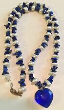 "Lapis Lazuli & Baroque Pearl Blue Glass Heart Necklace 18"""