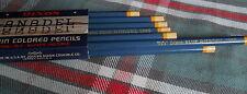 12 (twelve) #1950 BLUE Dixon Anadel Indelible Water Soluble Colored Pencils