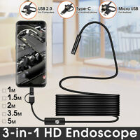 HD 1200P Inspection Camera Borescope Endoscope USB Type-C For Android Phone PC