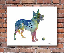 Australian Cattle Dog Art Print Contemporary Watercolor Colorful Dog Wall Decor