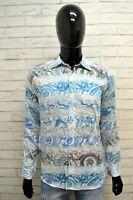 Camicia Bianca Floreale Uomo ETRO MILANO Taglia M Slim Maglia Cotone Shirt Man