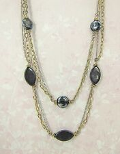 Silver and Gold Chain Layered Necklace with Black and Silver Beads - New
