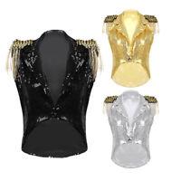 Womens Sleeveless Waistcoat Sparkle Sequins Vest Tuxedo Style Coat Jazz Dance