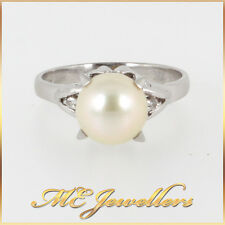 PT Platinum Akoya Cultured Pearl Dress Ring With Diamond FREE Val & Resizing