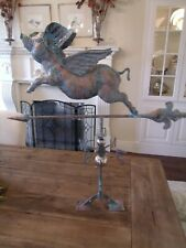 XLARGE Handcrafted 3D 3- Dimensional FLYING PIG Weathervane Copper Patina Finish