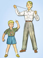 1950s Vintage McCall Sewing Pattern 9695 Uncut Toddler Boys Shirt & Pants Size 6