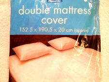 Double WATERPROOF MATTRESS PROTECTOR COVER FITTED VINYL MATRESS White Wetting