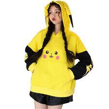 Pokemon Pikachu Hoodie Women Girl Yellow Black 3D Sweatshirt With Ears Top New