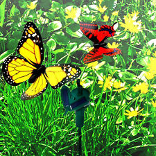 HQRP Dos mariposas decorativas solares monarca amarilla, cola de golondrina roja