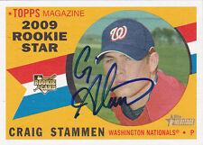 CRAIG STAMMEN WASHINGTON NATIONALS SIGNED TOPPS HERITAGE ROOKIE BASEBALL CARD