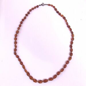 """Vintage 23"""" Honey Cognac Natural Polished Amber Bead Necklace With Silver Clasp"""