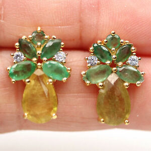 NATURAL HEATED 7 X 9 mm. YELLOW SAPPHIRE, EMERALD & CZ 925 SILVER EARRINGS