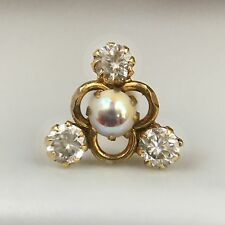 14Kt Real Yellow Gold Stud Nose Pin Cubic Zirconia Piercing Pearl 20 Gauge 20g