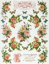Papel De Arroz-Rosas y Mariposas-Para Decoupage, hoja de Scrapbooking