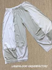 myo- Lagenlook 3 D Pantalone in jersey hellgrau-weiss Taglia unica 46,48, 50,52,