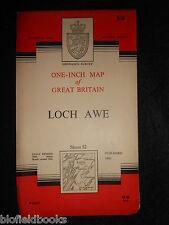 "VINTAGE ORDNANCE SURVEY 1"" MAP of Loch Awe - 1961 - Scotland/Scottish, Sheet 52"