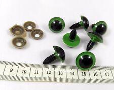 10 occhi occhietti verde plastica vite 18 x 22 mm pupazzi bambole amigurumi