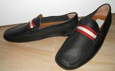 Men's New Bally Texture Leather Loafers Color Black Made in Italy 2 sizes