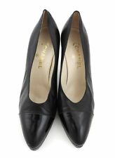 Chanel Escarpins 41 Noir Cuir Hauts Talons Escarpins Chaussures Top