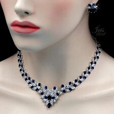 18K White Gold GP Sapphire Zirconia CZ Necklace Earrings Wedding Jewelry Set 214